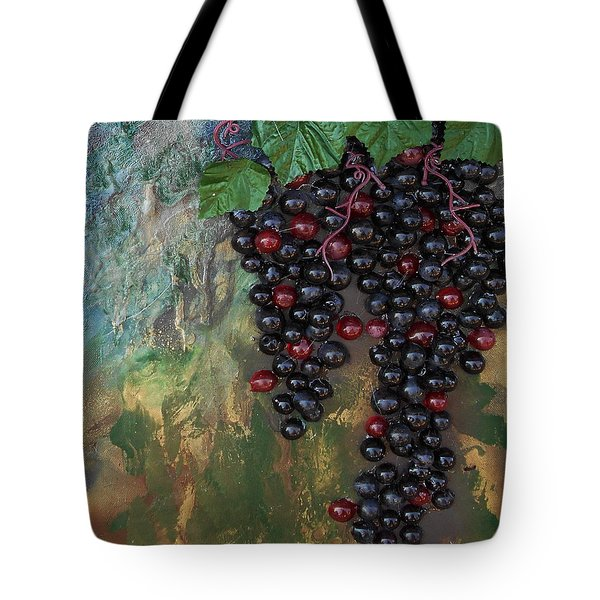 Tote Bag featuring the mixed media Purple Grapes by Angela Stout