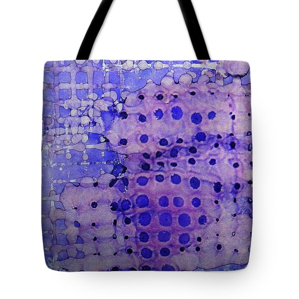 Tote Bag featuring the painting Purple Grid Ink #2 by Sarajane Helm