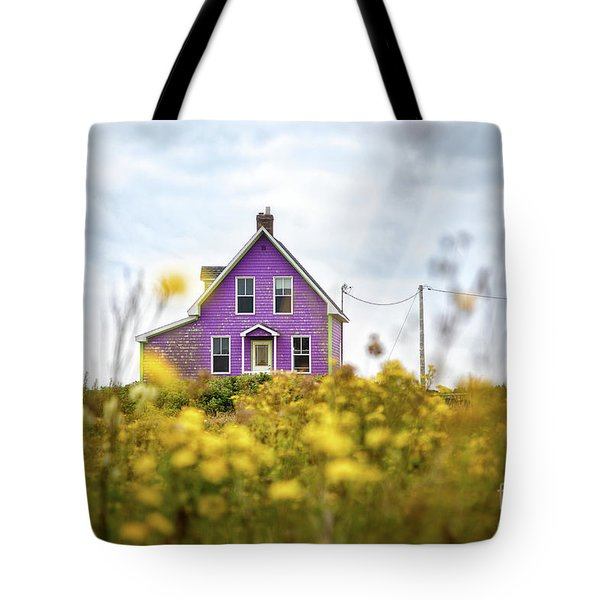 Purple House And Yellow Flowers Tote Bag