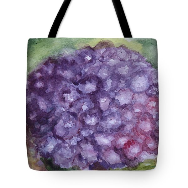 Tote Bag featuring the painting Purple Hydrangea by Donna Walsh