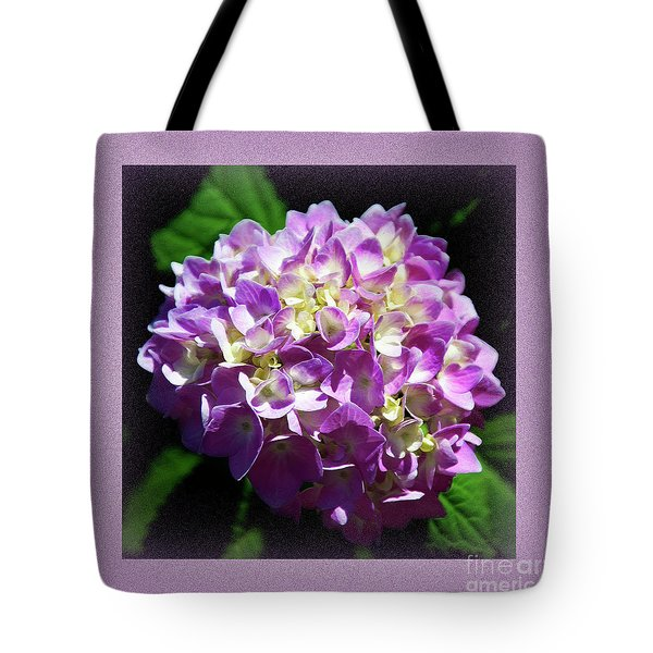 Tote Bag featuring the digital art Purple Hydrangea Painterly Square 1 by Andee Design