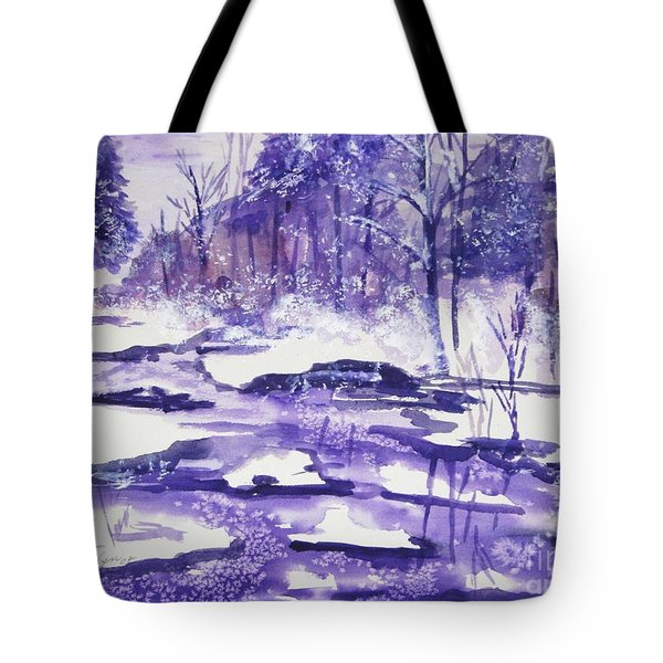 Tote Bag featuring the painting Purple Ice On Kaaterskill Creek by Ellen Levinson