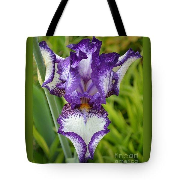 Purple Iris Art Tote Bag by Rebecca Margraf