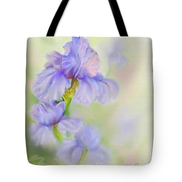 Tote Bag featuring the painting Purple Iris by Bonnie Willis