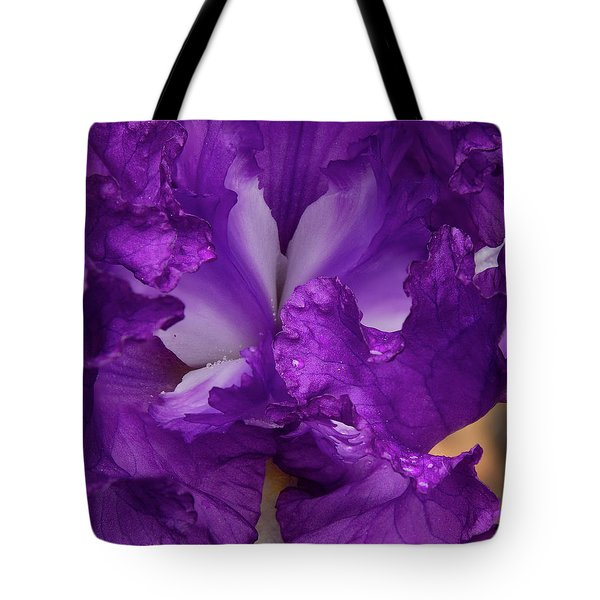 Tote Bag featuring the photograph Purple Iris Close Up by Jean Noren
