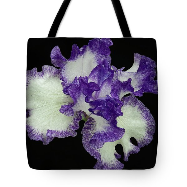 Tote Bag featuring the photograph Purple Iris Frills by Jean Noren