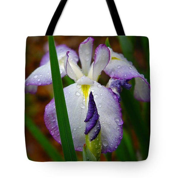 Purple Iris In Morning Dew Tote Bag