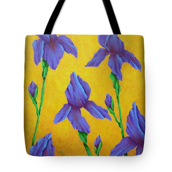 Purple Iris Tote Bag by Pamela Allegretto