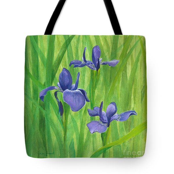 Tote Bag featuring the painting Purple Iris by Phyllis Howard