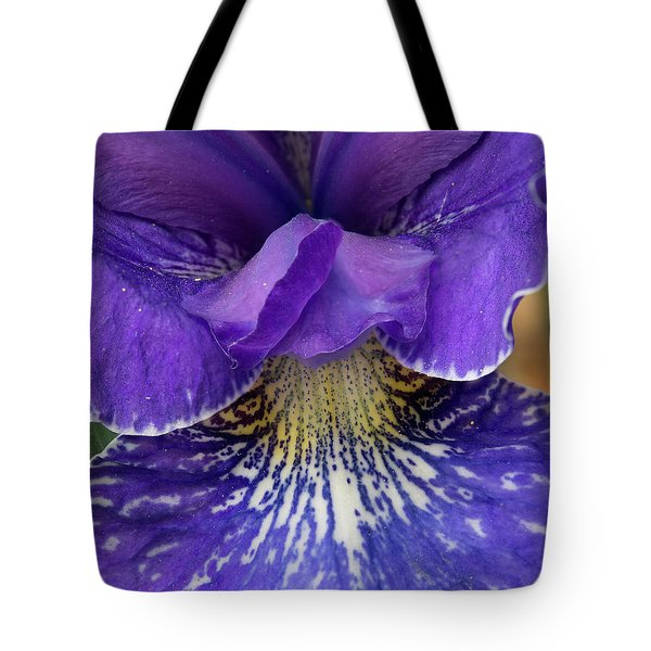 Tote Bag featuring the photograph Purple Japanese Iris Closeup by Jean Noren