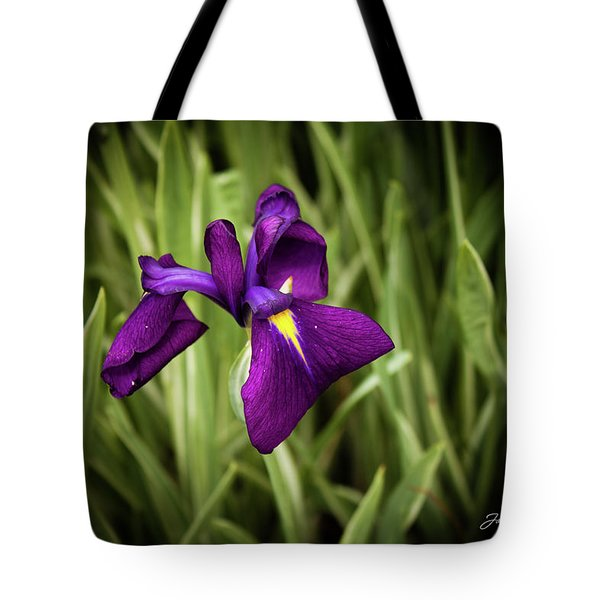 Tote Bag featuring the photograph Purple Japanese Iris by Joann Copeland-Paul