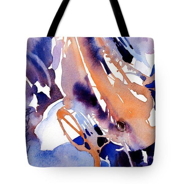 Tote Bag featuring the painting Purple Koi Patterns by Rae Andrews