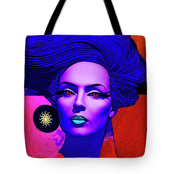 Tote Bag featuring the digital art Purple Lady - Deco by Chuck Staley
