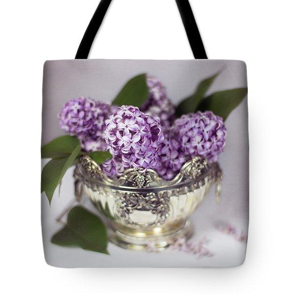 Purple Lilacs In Silver Bowl Tote Bag
