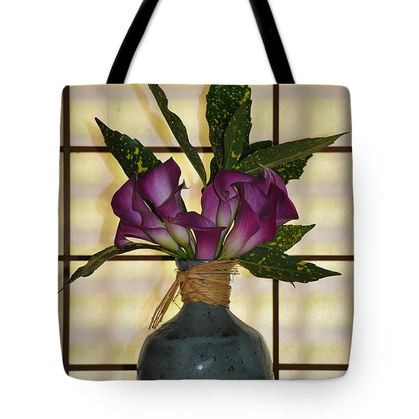 Purple Lilies In Japanese Vase Tote Bag by Bill Cannon