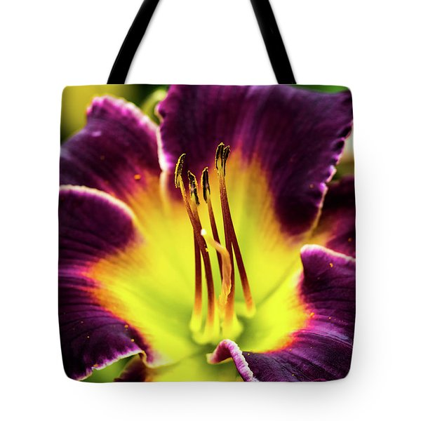 Tote Bag featuring the photograph Purple Lily - Close Up by Penny Lisowski