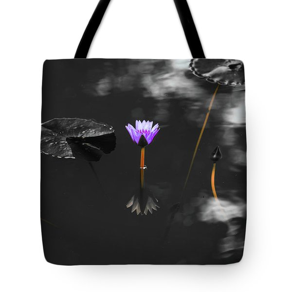 Tote Bag featuring the photograph Purple Lily In Black And White by Dennis Dame