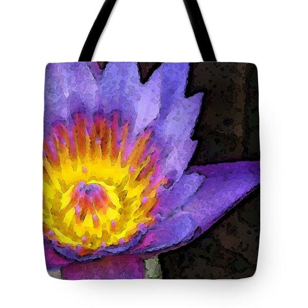 Purple Lotus Flower - Zen Art Painting Tote Bag by Sharon Cummings