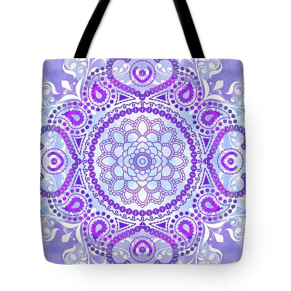 Tote Bag featuring the digital art Purple Lotus Mandala by Tammy Wetzel