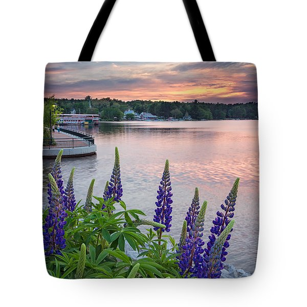 Purple Lupines On The Causeway Tote Bag
