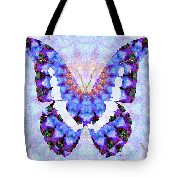 Tote Bag featuring the painting Purple Mandala Butterfly Art By Sharon Cummings by Sharon Cummings