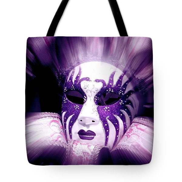 Tote Bag featuring the photograph Purple Mask Flash by Amanda Eberly-Kudamik
