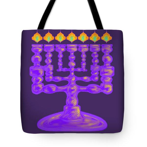 Purple Menorah Flamed Tote Bag
