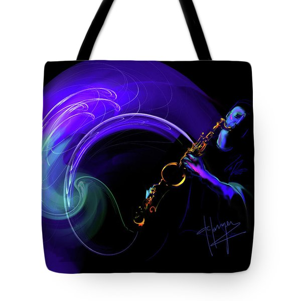 Tote Bag featuring the painting Purple Moon by DC Langer