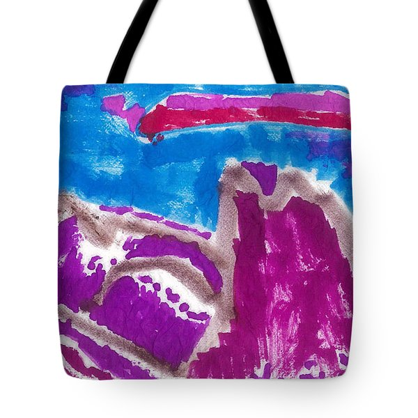 Tote Bag featuring the painting Purple Mountain Majesties by Don Koester