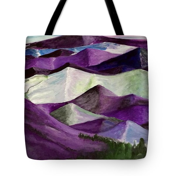 Tote Bag featuring the painting Purple Mountains Majesty by Kim Nelson