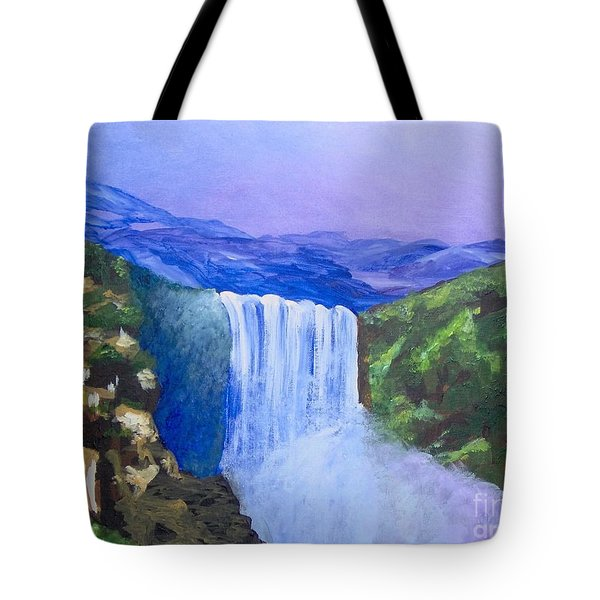 Tote Bag featuring the painting Purple Mountains by Saundra Johnson