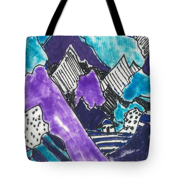 Tote Bag featuring the painting Purple Mountains Too by Don Koester