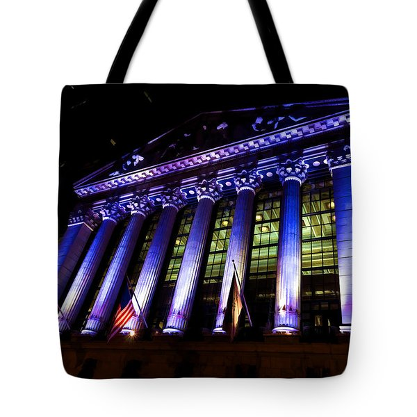 Purple New York Stock Exchange At Night - Impressions Of Manhattan Tote Bag
