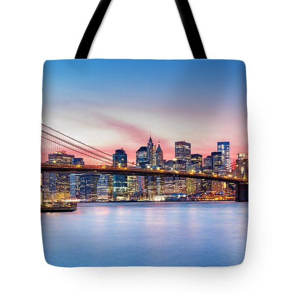 Tote Bag featuring the photograph Purple Nyc Sunset by Mihai Andritoiu