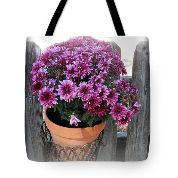 Purple On The Fence Tote Bag