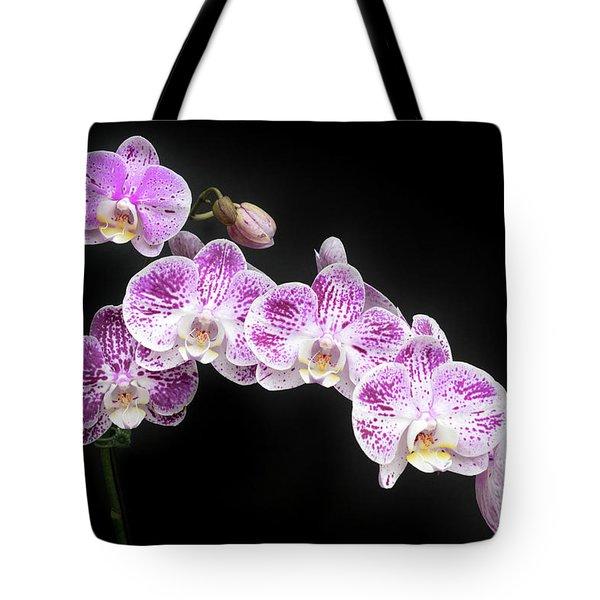 Purple On White On Black Tote Bag