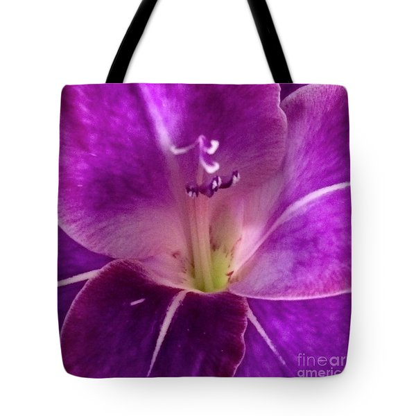 Tote Bag featuring the photograph Purple Orchid Close Up by Kim Nelson