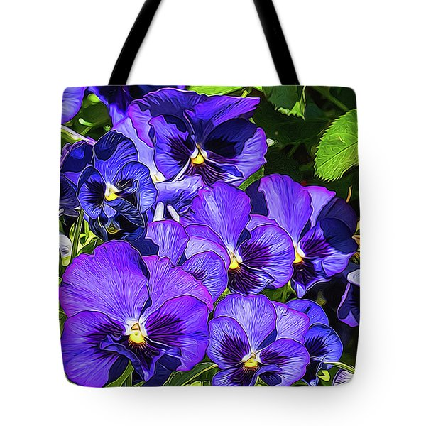 Purple Pansies In Morning Light Tote Bag