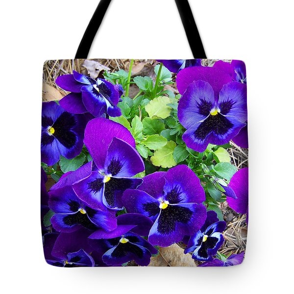 Tote Bag featuring the photograph Purple Pansies by Sandi OReilly
