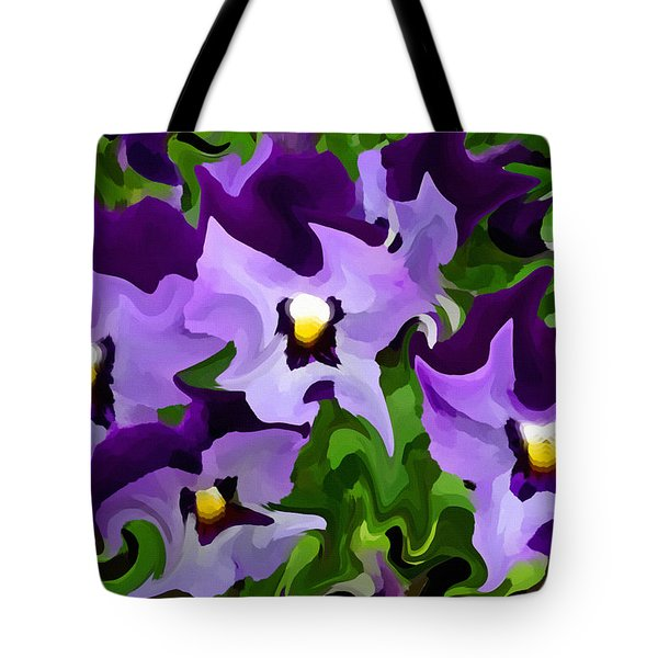Tote Bag featuring the digital art Purple Pansy Abstract by Shelli Fitzpatrick
