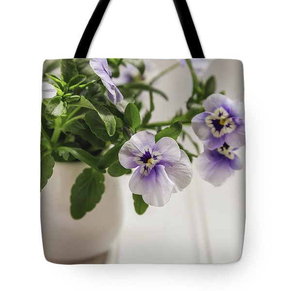 Tote Bag featuring the photograph Purple Pansy Flowers by Kim Hojnacki