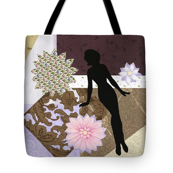 Purple Paper Doll Tote Bag