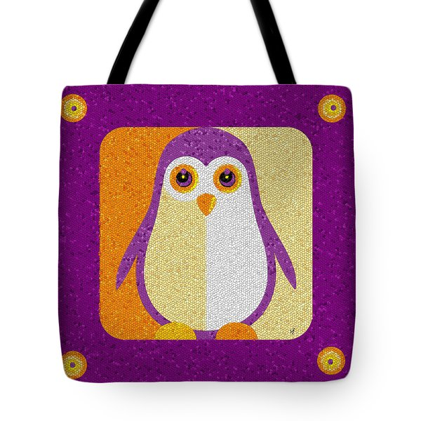 Tote Bag featuring the digital art Purple Penguin In A Box Mosaic  by Shelli Fitzpatrick