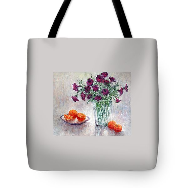 Purple Petunias And Oranges Tote Bag