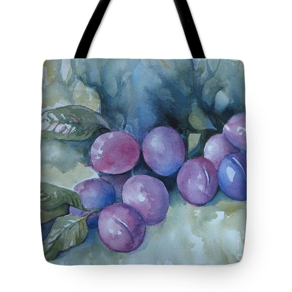 Tote Bag featuring the painting Purple Plums by Elena Oleniuc