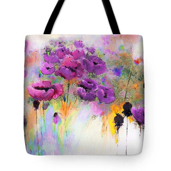 Purple Poppy Passion Painting Tote Bag