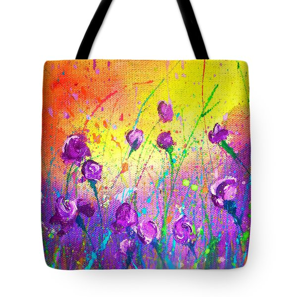 Purple Posies Tote Bag