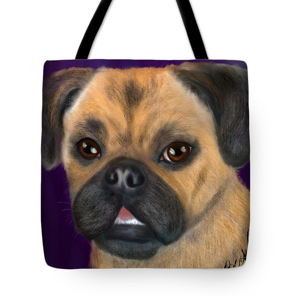 Tote Bag featuring the painting Purple Pug Portrait by Becky Herrera
