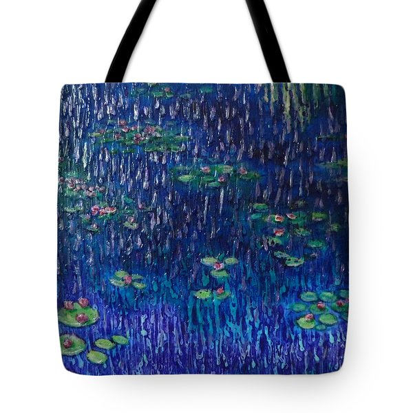 Purple Rain On Water Lilies Tote Bag