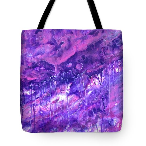 Purple Rain Tote Bag by T Fry-Green